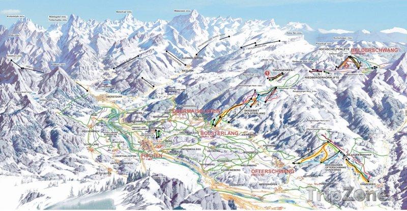 Fotka, Foto Mapa lyžařského střediska Ofterschwang