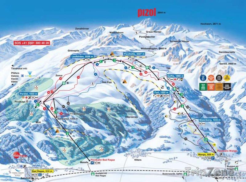 Fotka, Foto Mapa lyžařského střediska Pizol - Bad Ragaz - Wangs
