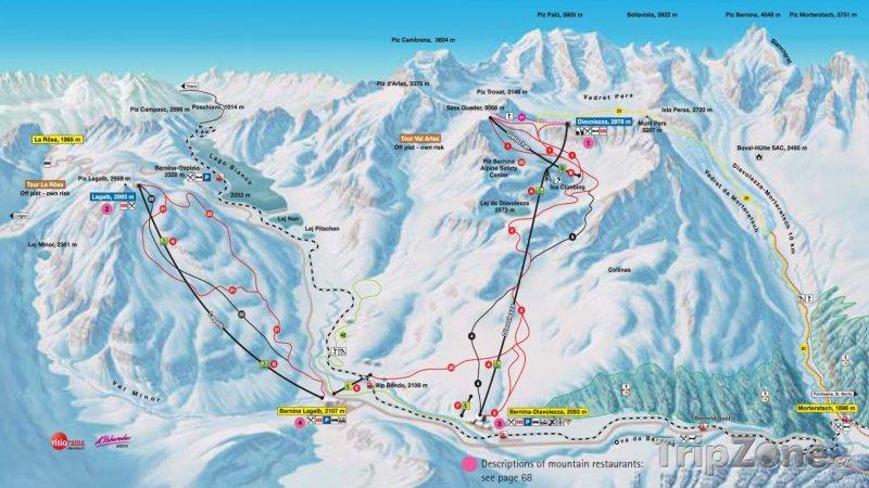 Fotka, Foto Mapa lyžařského střediska Pontresina - Diavolezza