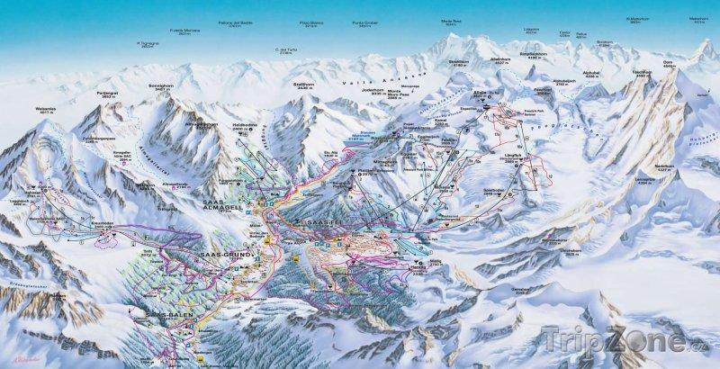 Fotka, Foto Mapa lyžařského střediska Saas-Fee