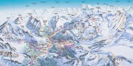 Mapa lyžařského střediska Saastal