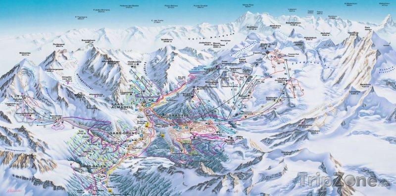 Fotka, Foto Mapa lyžařského střediska Saastal