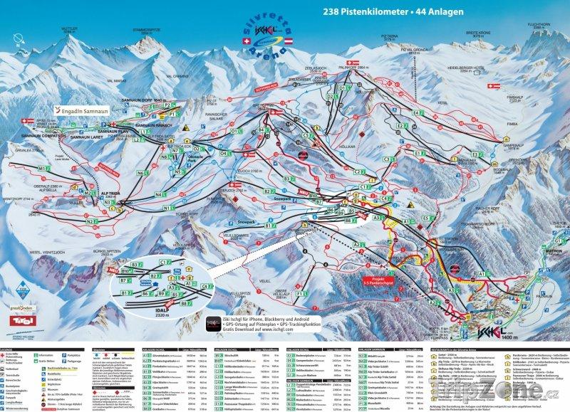 Fotka, Foto Mapa lyžařského střediska Samnaun