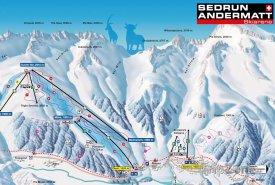 Mapa lyžařského střediska Sedrun
