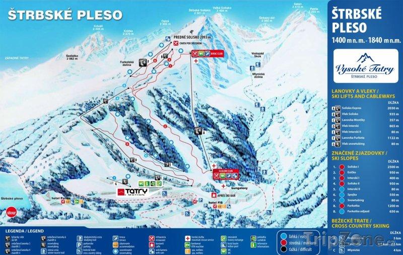 Fotka, Foto Mapa lyžařského střediska Štrbské Pleso