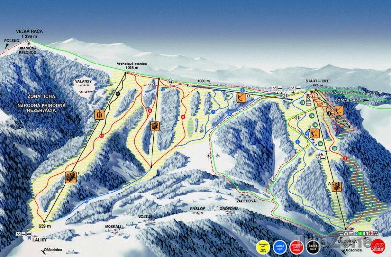 Fotka, Foto Mapa lyžařského střediska Vel'ká Rača