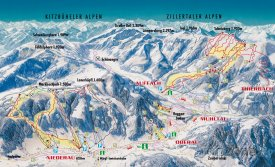 Mapa lyžařského střediska Wildschönau