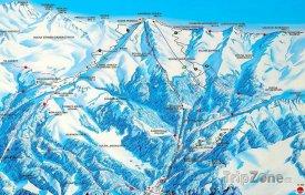 Mapa lyžařského střediska Zakopane