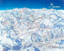Mapa lyžařského střediska Zürs-Lech