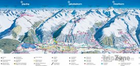 Mapa lyžařského střeidiska Pischa, Jakobshorn, Rinehorn