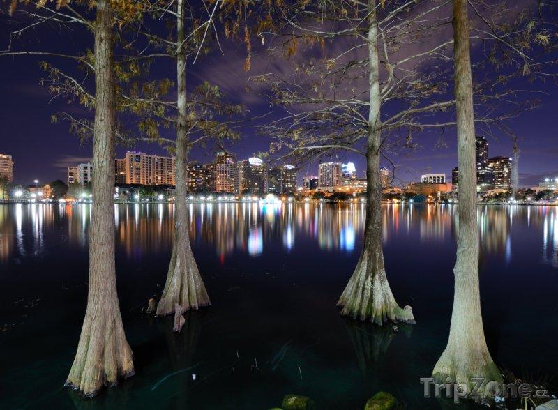 Fotka, Foto Centrum města a jezero Eola v noci (Orlando, USA)