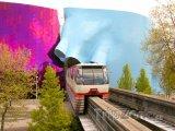 Monorail projížedějící budovou EMP Museum
